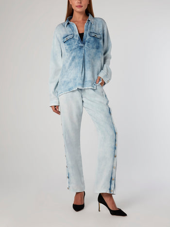 Acid Wash Frayed Tencel Shirt