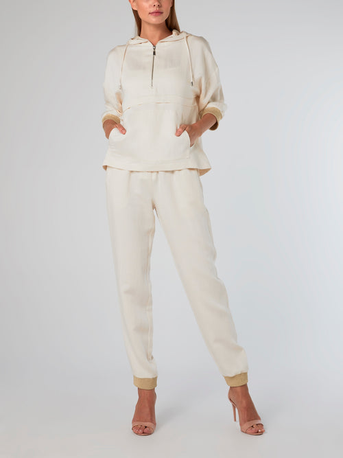 Three Quarter Sleeve Linen Sweatshirt