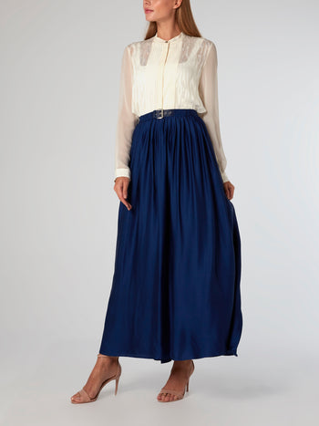Navy Belted Viscose Skirt