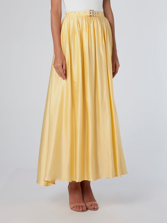 Yellow Belted Viscose Skirt