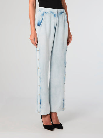 Acid Wash Tencel Button Pants