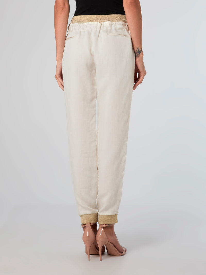 Ribbed Trim Linen Pants