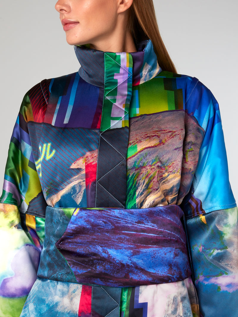 Glitched Nature Silk Parka