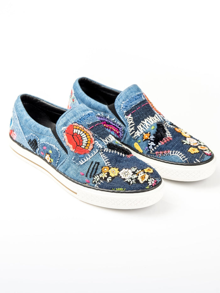 Embroidered Slip On Denim Sneakers