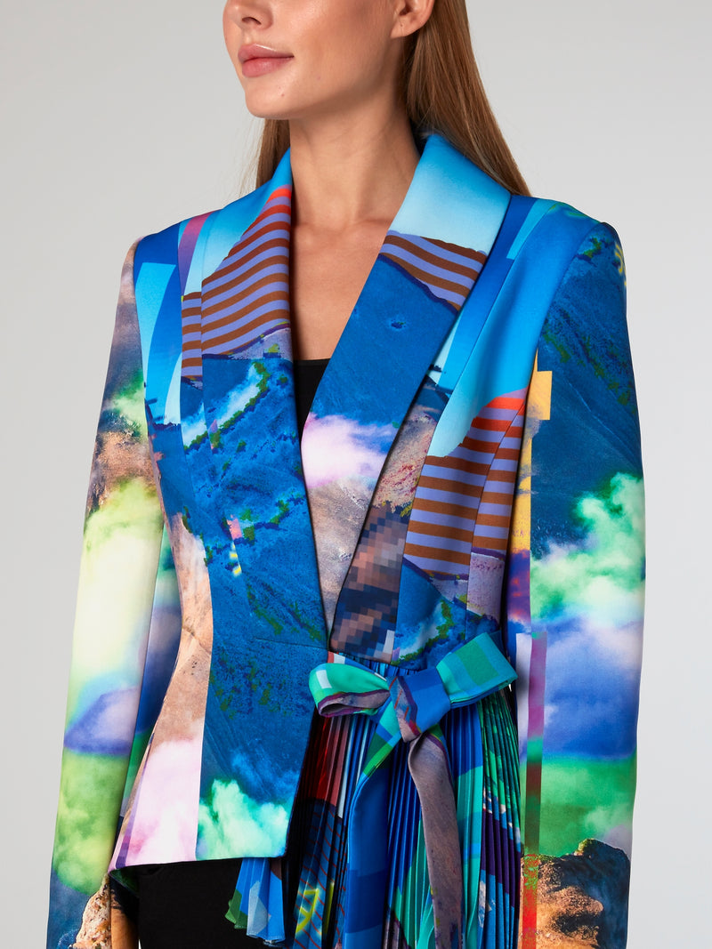 Glitched Nature Asymmetric Blazer