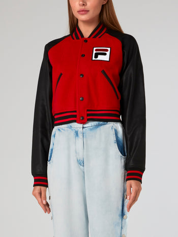 Striped Trim Letterman Jacket