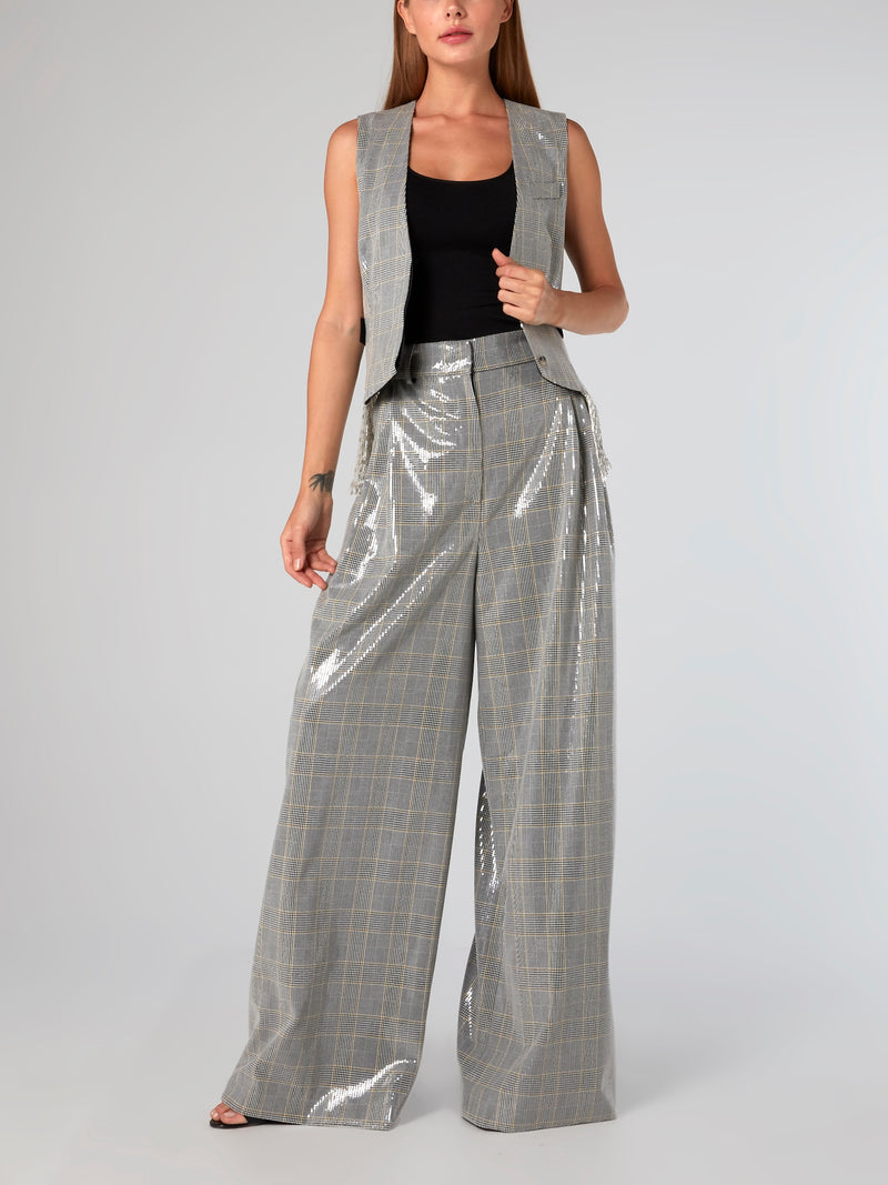 Belted Check Palazzo Pants