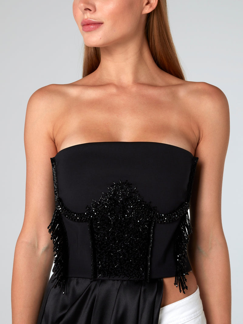 Black Beaded Asymmetric Top