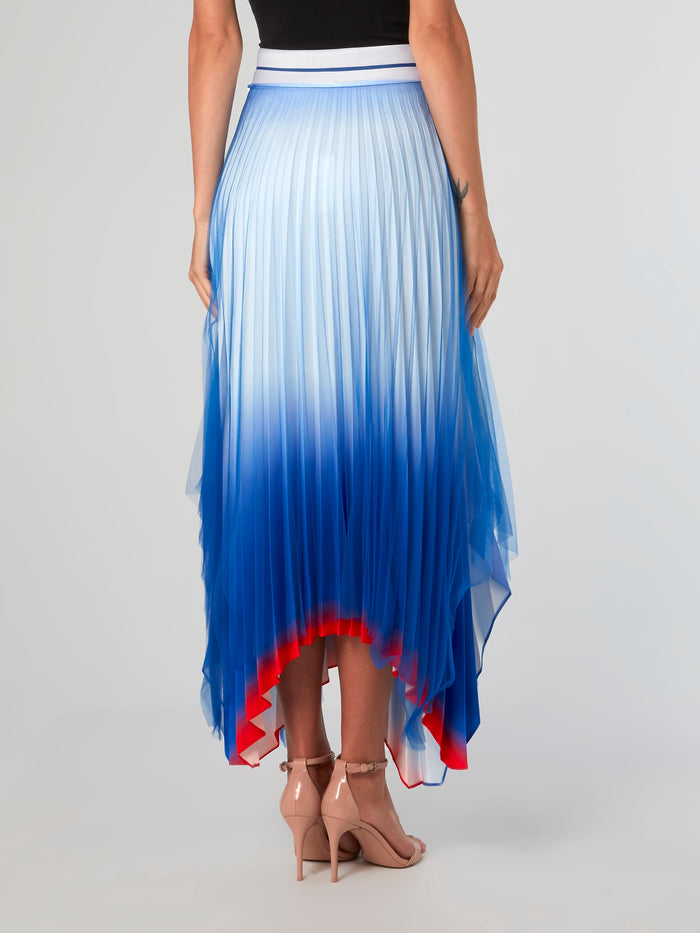 Cloud Sky Accordion Midi Skirt