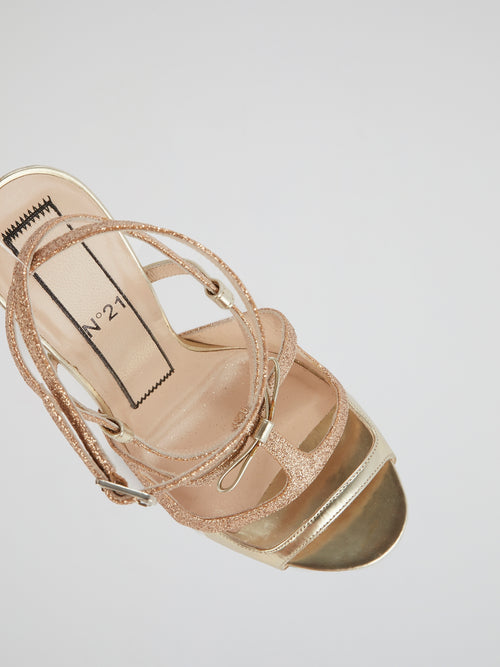 Glittery Gold Strappy Sandals