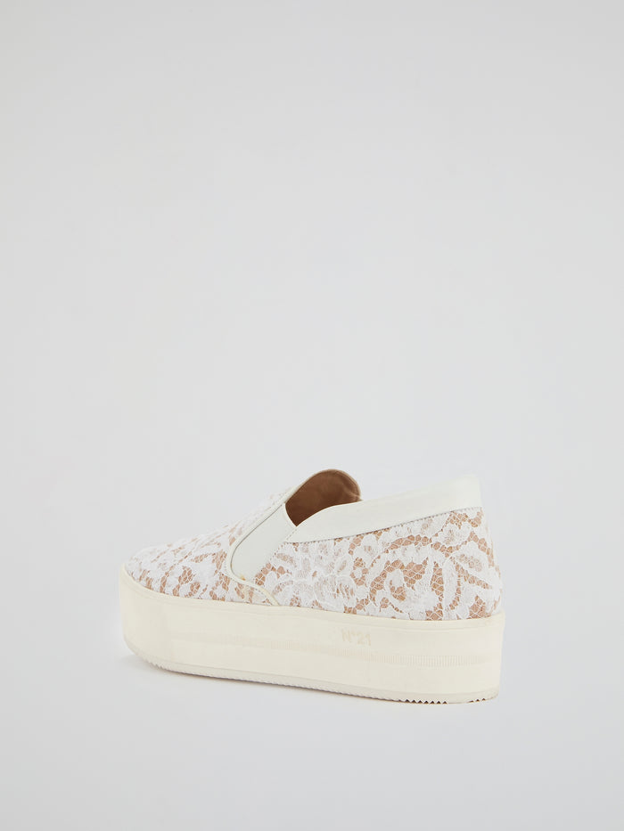 White Lace Detail Slip-On Sneakers