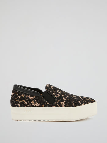 Black Lace Detail Slip-On Sneakers