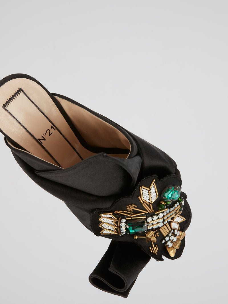 Black Embellished Satin Mules