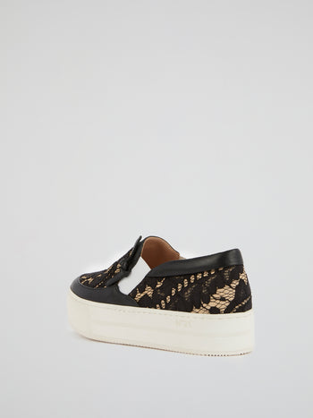 Black Lace Platform Sneakers