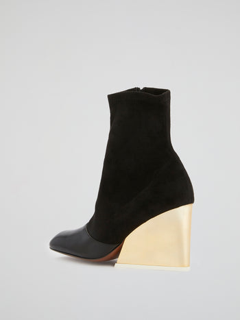 Black Suede Panel Ankle Boots