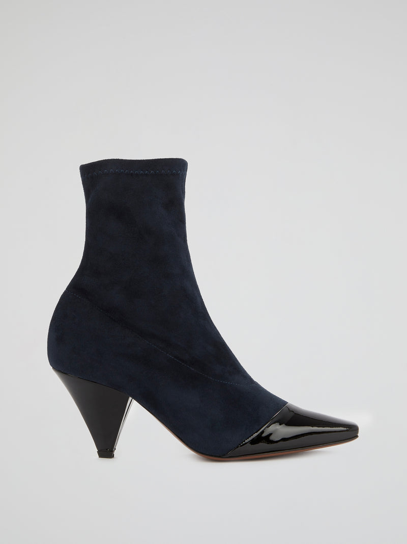 Navy Leather Panel Suede Boots