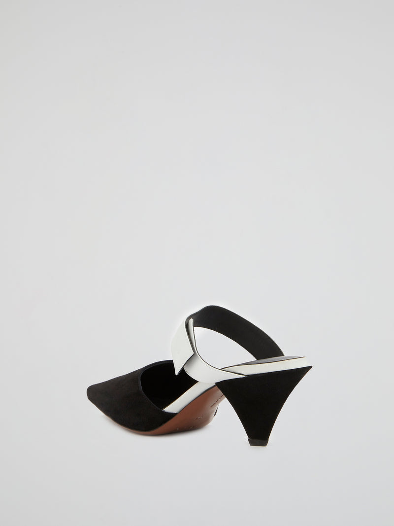 Contrast Strapped Suede Mules