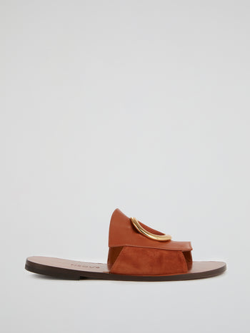 Brown Suede-Leather Flat Sandals