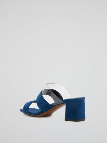 Navy Block-Heel Suede Sandals