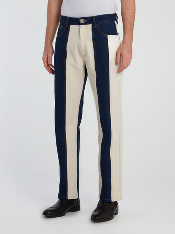 Ivory Panelled Denim Pants