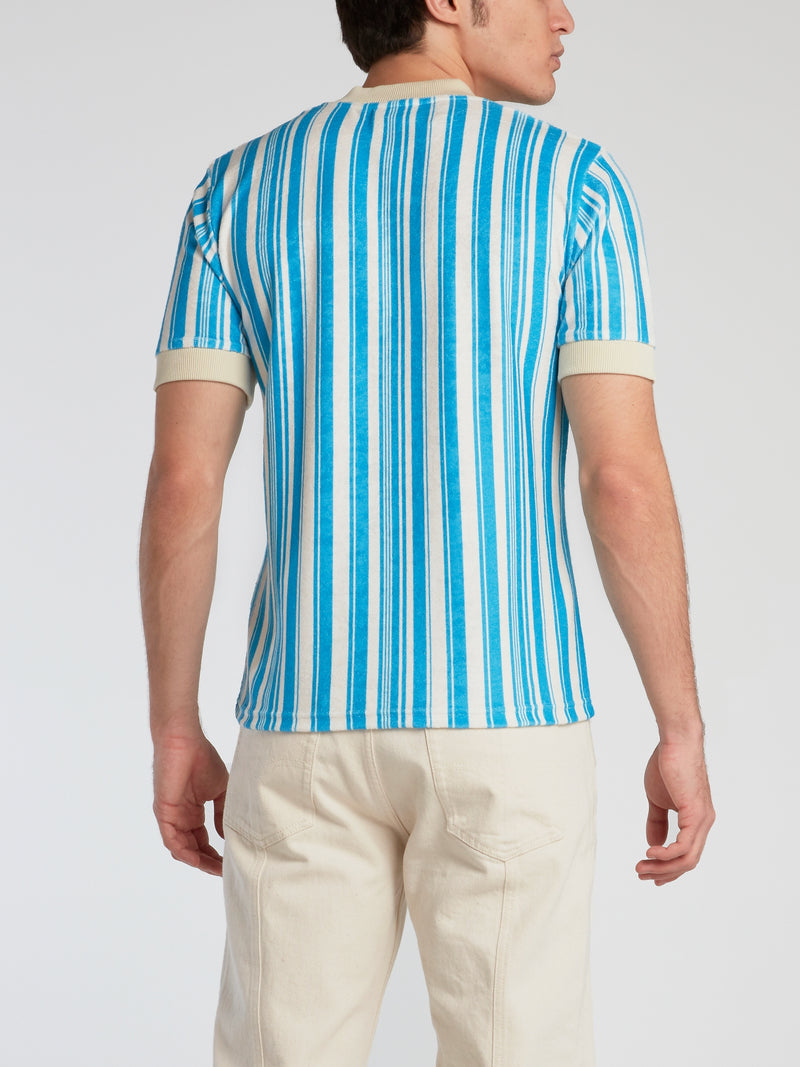 Ivory Trim Striped V-Neck T-Shirt