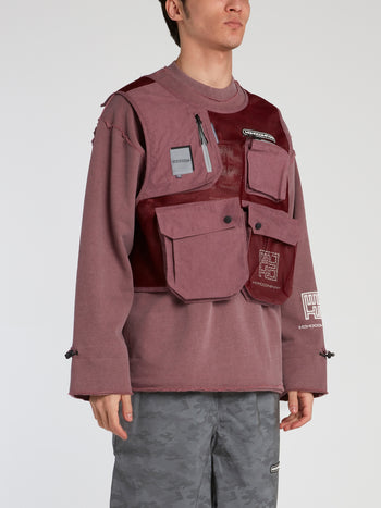 Burgundy Mesh Panel Cargo Sweatshirt