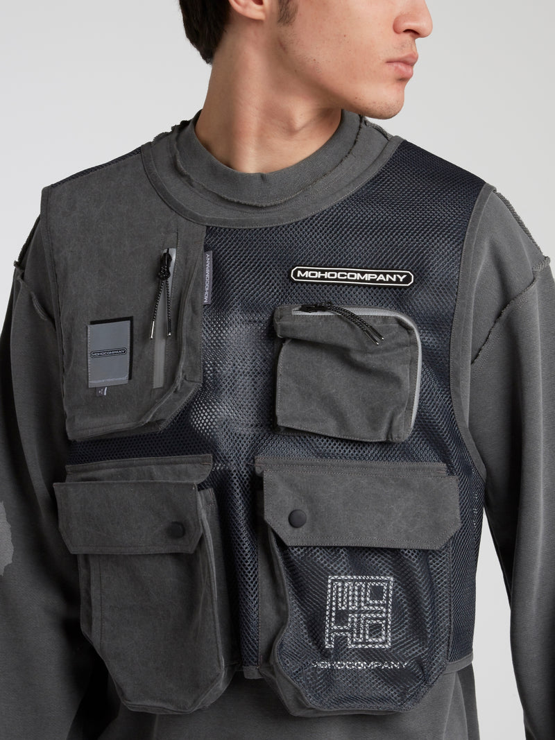 Grey Mesh Panel Cargo Sweatshirt