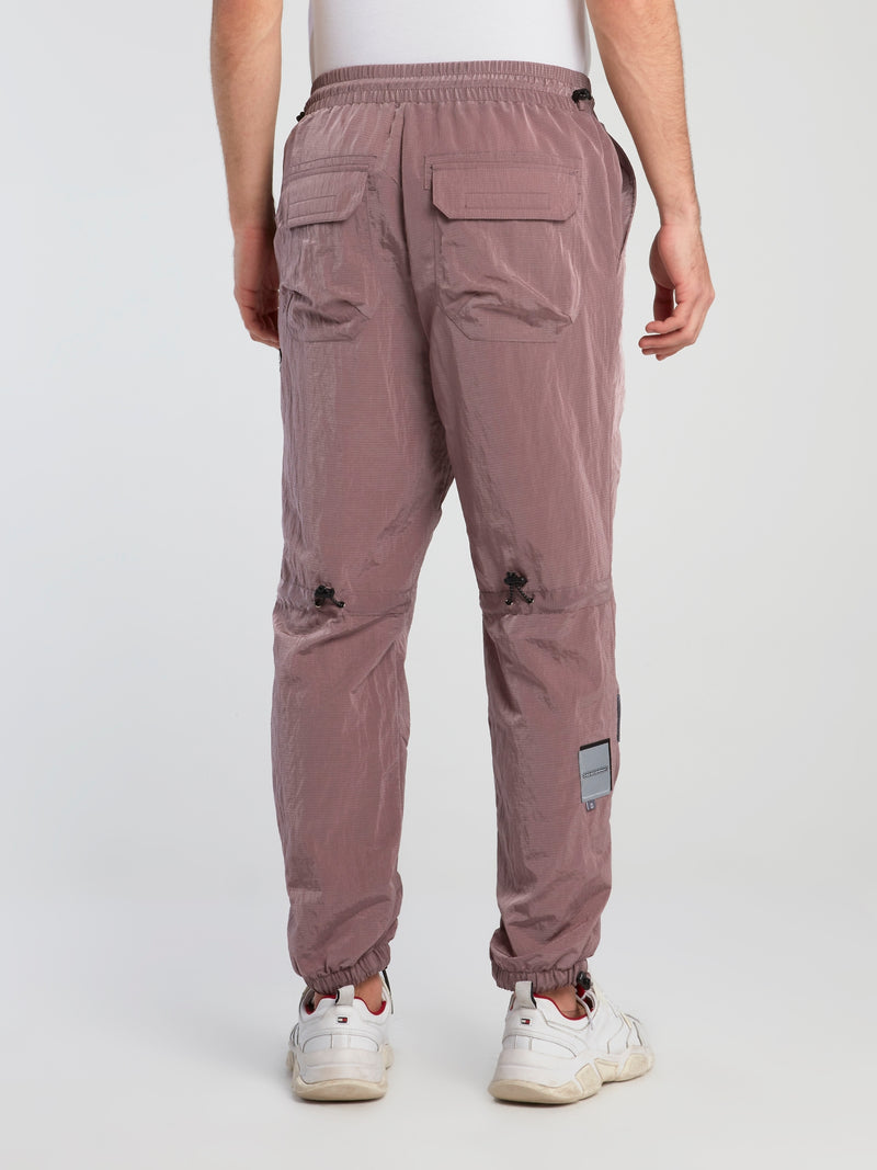 Burgundy Technical Zip Up Trousers