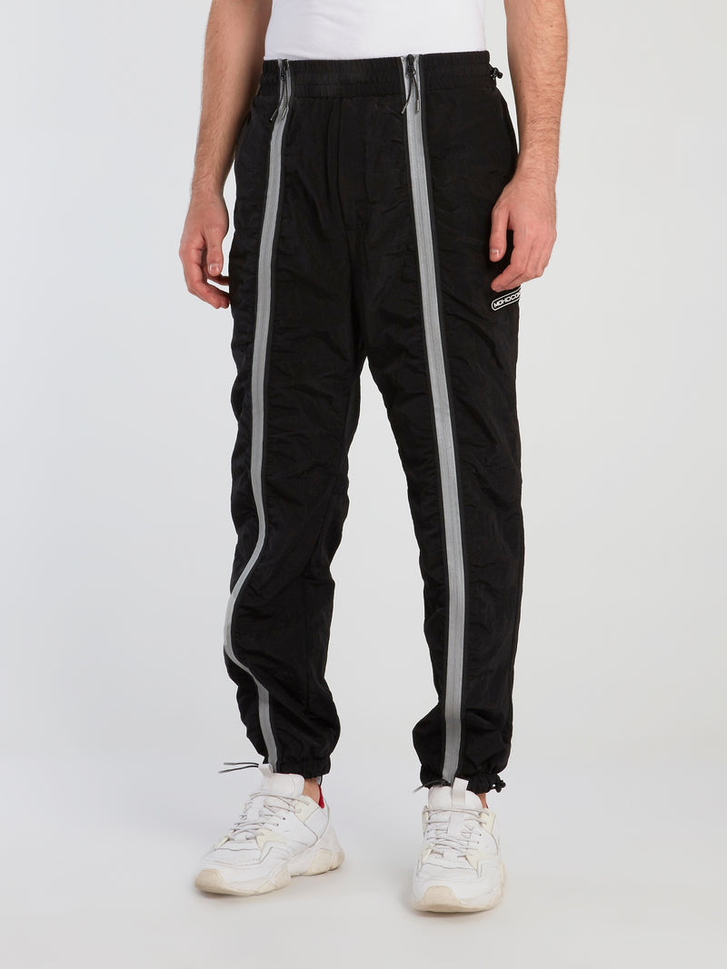 Black Technical Zip Up Trousers