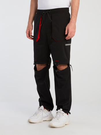 Black Cut Out Drawstring Pants