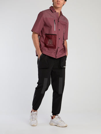 Burgundy Mesh Panel Button Up Shirt
