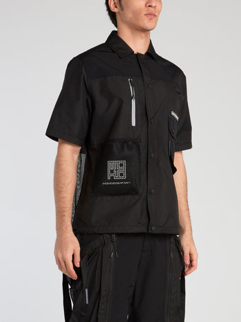Black Mesh Panel Button Up Shirt
