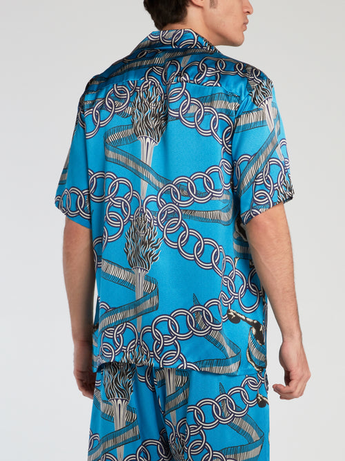Olympian Blue Printed Silk Shirt