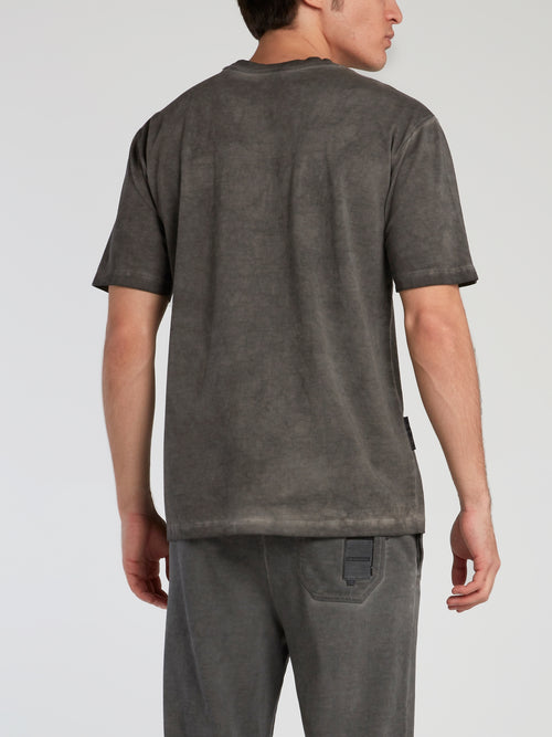 Grey Dyed Overlap Pocket T-Shirt