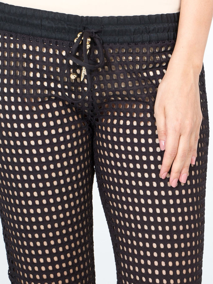 Black Fishnet Bootcut Trousers