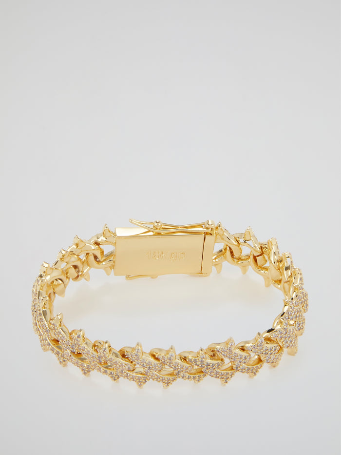 Diamond Spiked Cuban Link Gold Bracelet (18mm)