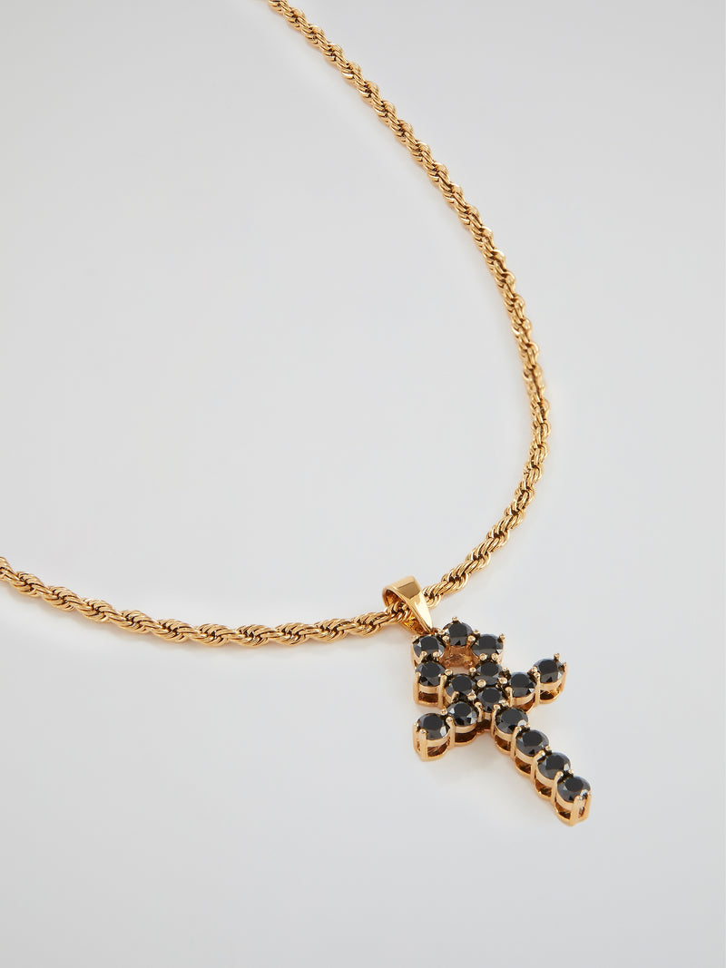 Micro Onyx Ankh Necklace