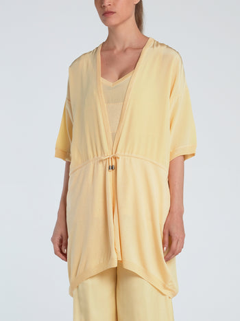 Yellow Half Sleeve Silk Cardigan