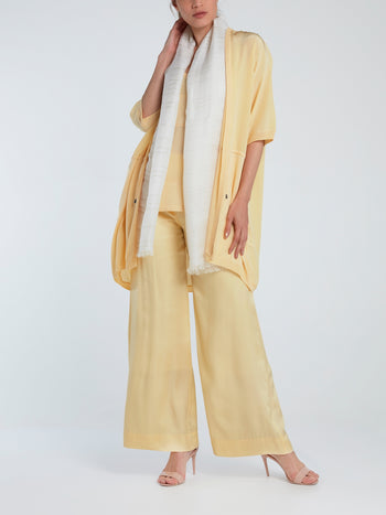 Yellow Wide-Leg Viscose Pants