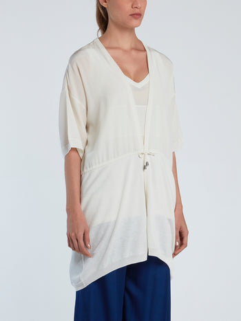 White Half Sleeve Silk Cardigan