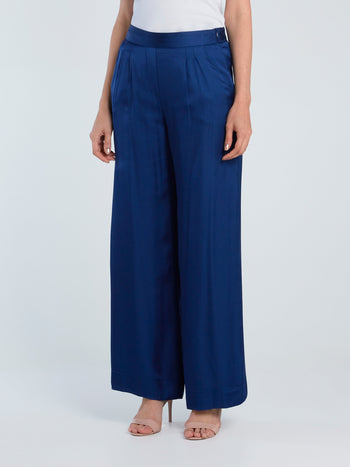 Navy Wide-Leg Viscose Pants