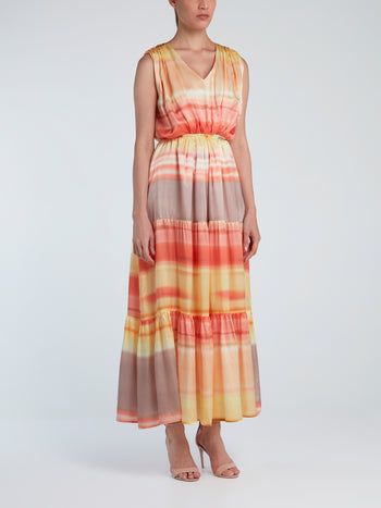 Tiered Elastic-Waist Silk Dress