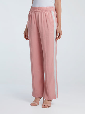 Pink Smocked-Waist Tencel Pants