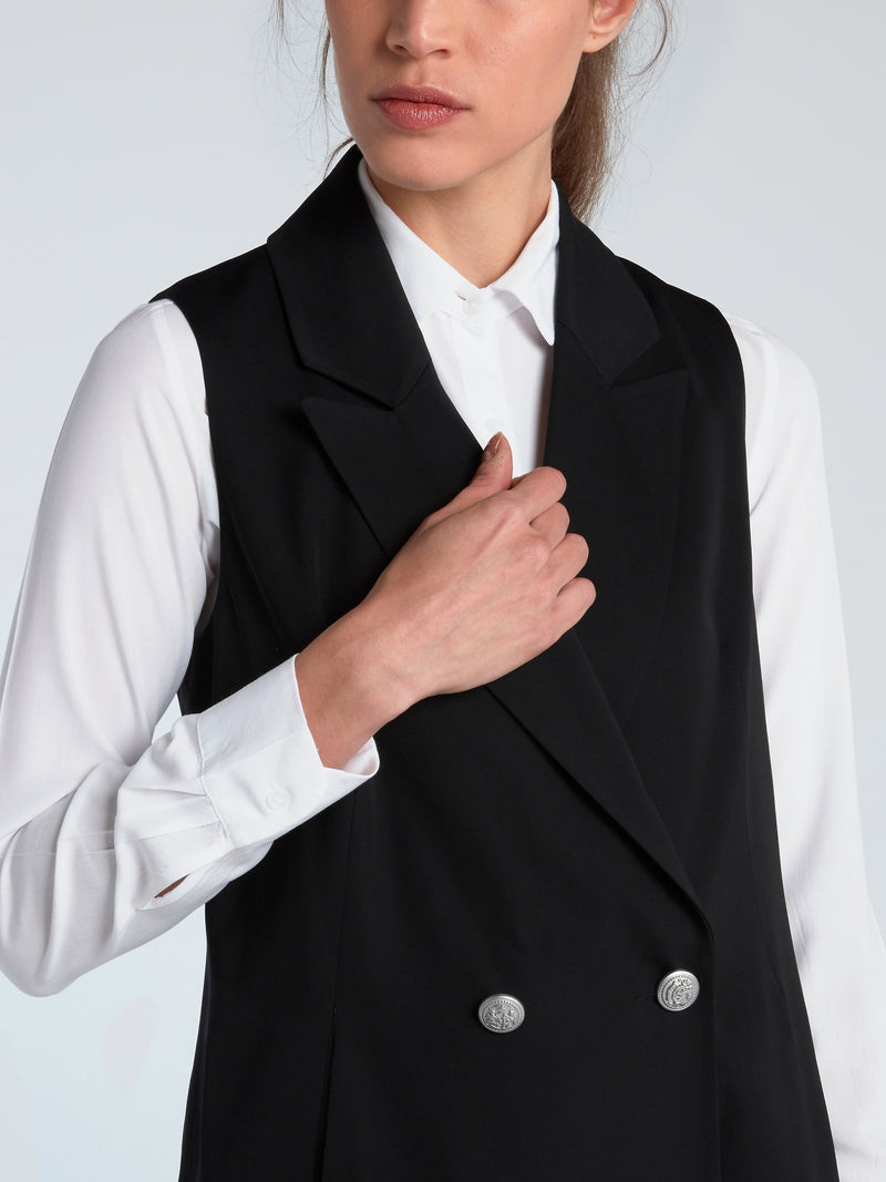 Black Double-Breasted Waistcoat