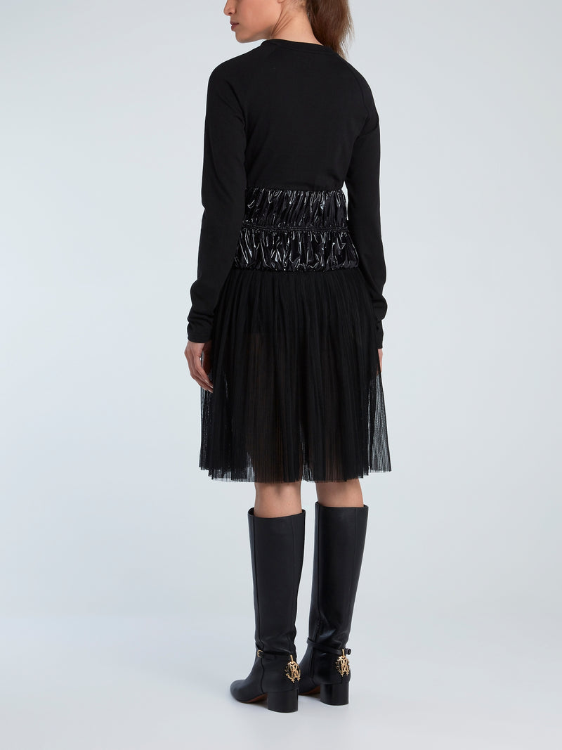 Black Tulle Hem Jersey Dress
