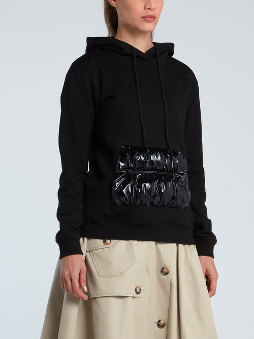 Black Puffer Pocket French Terry Hoodie