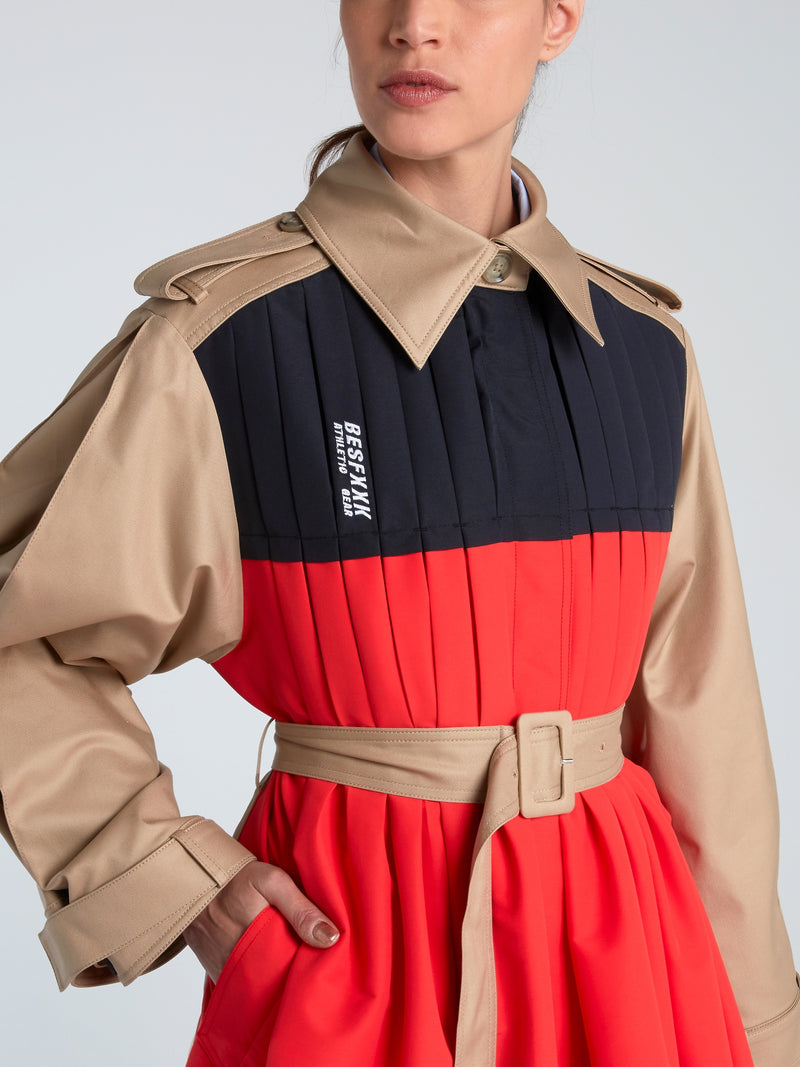 Windbreaker Pleated Front Trench Coat