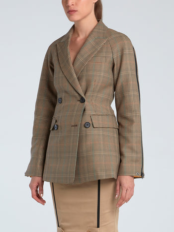 Double-Breasted Zip Sleeve Check Jacket