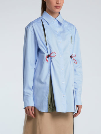 Blue Windbreaker Drawstring Shirt
