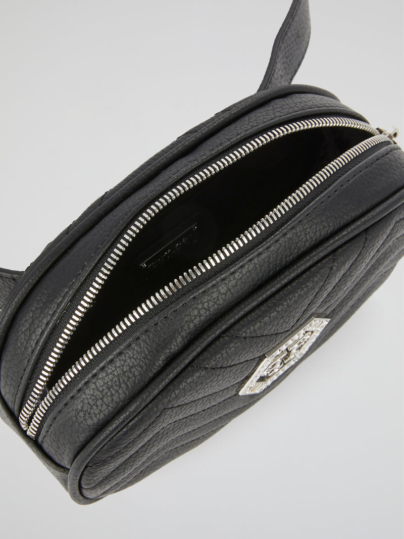 Black Crystal Monogram Quilted Fanny Pack